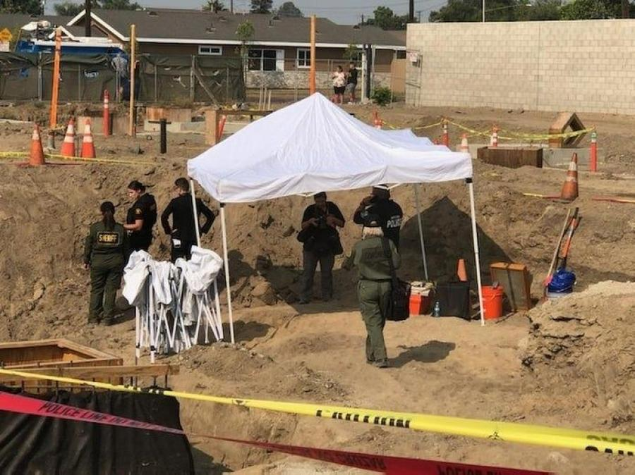 Contractors uncovered human bones while working on a light-rail project in Santa Ana. (Santa Ana Police Photo)