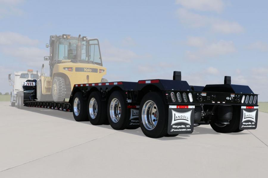 The 860-CE construction detachable trailers' standard features include 120,000 lb. capacity within 14 ft., 102 in. wide, hydraulic quick couplers, Grote wiring harness and LED lighting.