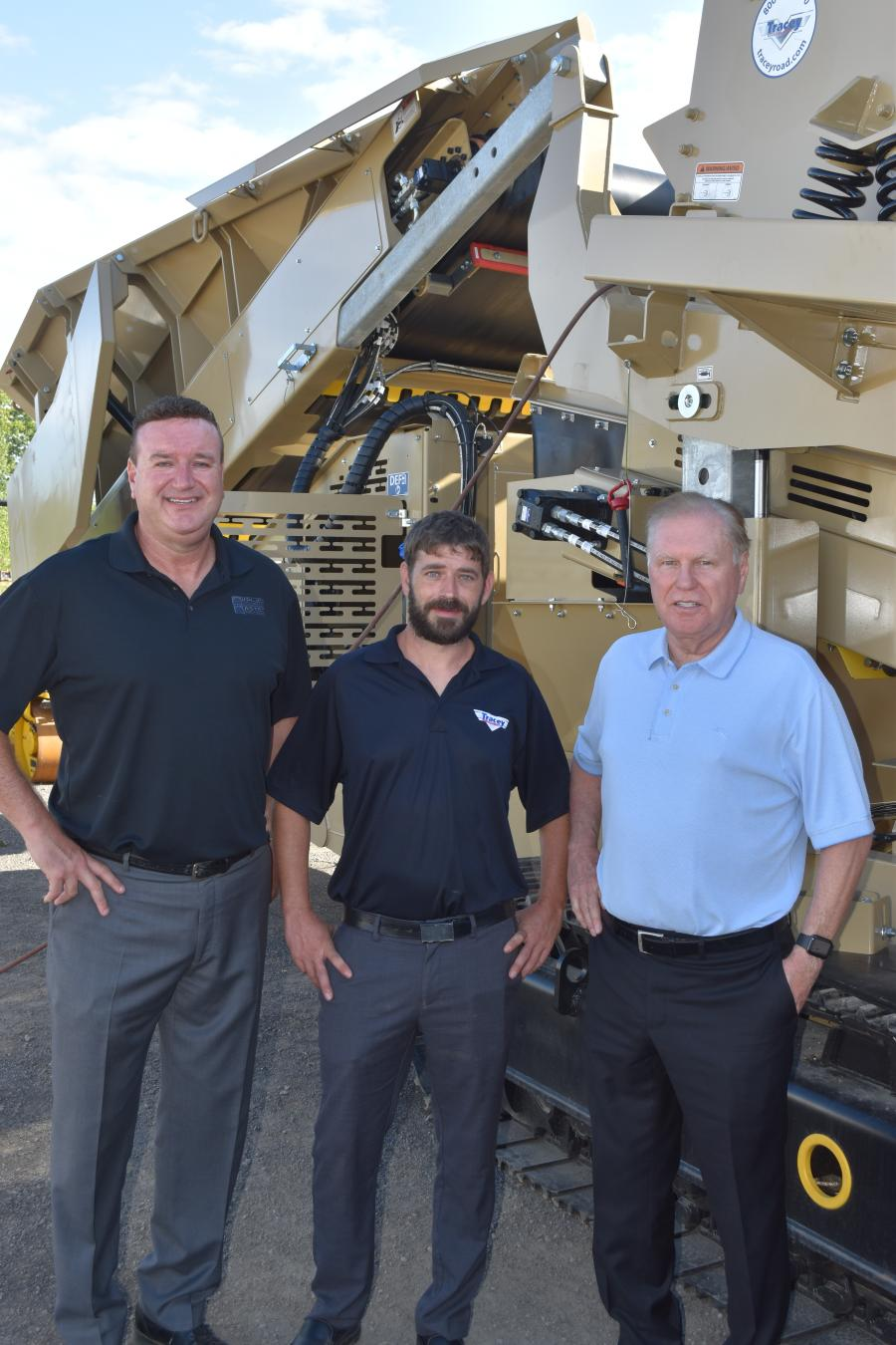 (L-R): Scott Collins, executive vice president of sales; David McLean, director of aggregate processing sales; and Jerry Tracey, president.
