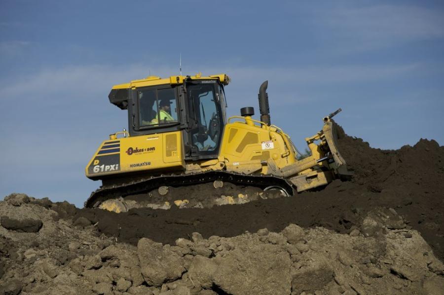 A Komatsu D61PXi dozer with Intelligent Machine control moves dirt on the site of Komatsu Mining's new headquarters in Milwaukee. (Komatsu photo)