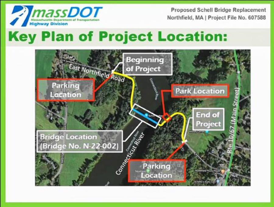 The Schell Bridge reconstruction project will involve roadway work starting about 940 ft. west of the bridge and ending about 1,025 ft. east of the bridge. (MassDOT webinar screenshot)