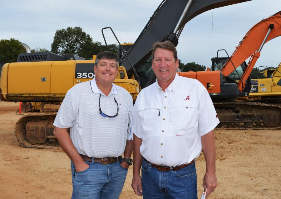 Doug Stone (L) of Stone Equipment, Montgomery, Ala. and Bob Winnette of T&K Construction, Vinemont, Ala., rarely ever miss a JM Wood sale.