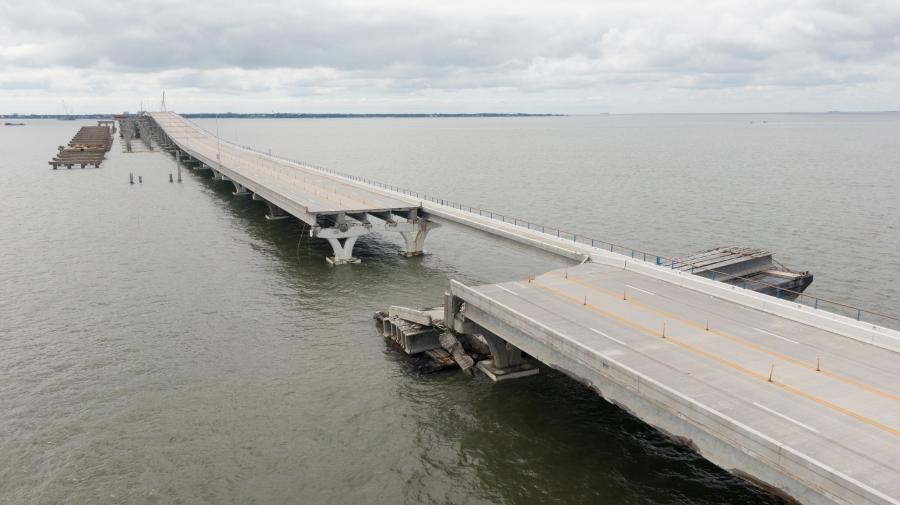 The far western area of the Florida Panhandle saw the most dramatic destruction from Hurricane Sally at the still-under-construction and partially-opened Pensacola Bay Bridge — the morning before the storm came ashore.