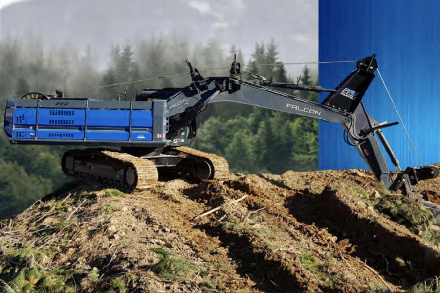 Practical and versatile, the Falcon Winch Assist system can be fitted to all major excavator brands over 30 tons in weight. The single drum machine with an 11/8-in. swaged rope provides continuous traction support for felling and shoveling machines on steep slopes.