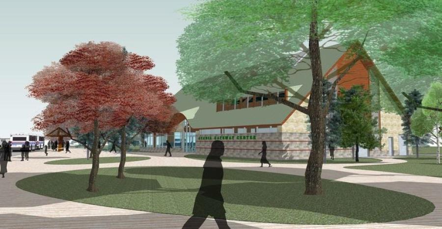 A rendering of phase-two construction of the Acadia Gateway Center in Trenton. (National Park Service rendering)