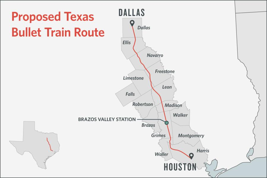 The railway, which will be 235.5 mi. long, will transform mobility between Dallas and Houston. It will be based on Central Japan Railway's Tokaido Shinkansen system, the world's safest mass transportation system. It will carry travellers between Dallas and Houston — with a stop at Brazos Valley near the Texas A&M University — in 90 min. (Emily Albracht Graphic)