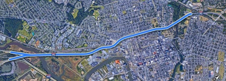 DelDOT is preparing for a $200 million rehabilitation project on I-95 that will last two years. This map highlights where construction will cover. (DelDOT photo)