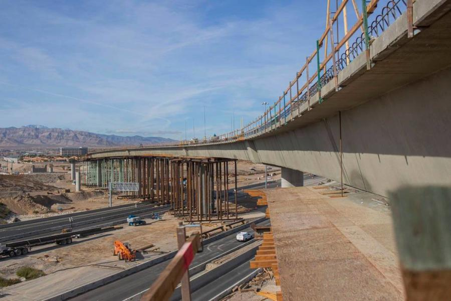 In 2019, construction crews made upgrades of the two-lane flyover ramp connecting U.S. Highway 95 northbound to the 215 Beltway westbound.