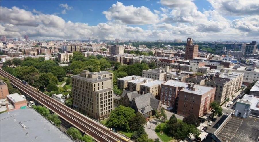 Aerial view of renovations at St. James Church Fordham. (Dattner Architects rendering)