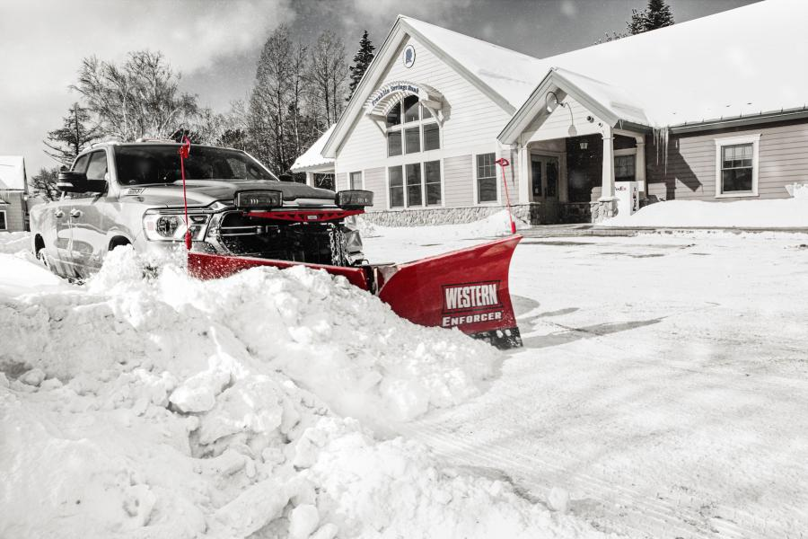 Earlier this year, Western unveiled its new Enforcer V-Plow, available in both stainless and powder-coated steel. (Western Products photo)