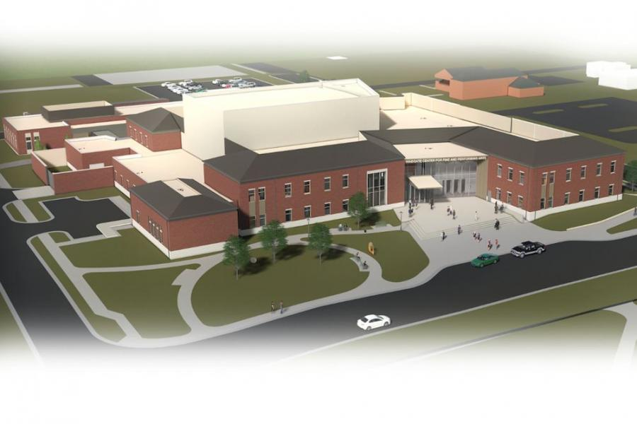 An aerial architectural rendering of the Windgate Center for Fine and Performing Arts under construction at the University of Central Arkansas in Conway. (WER Architects/Pfeifer/H&N Architects rendering)