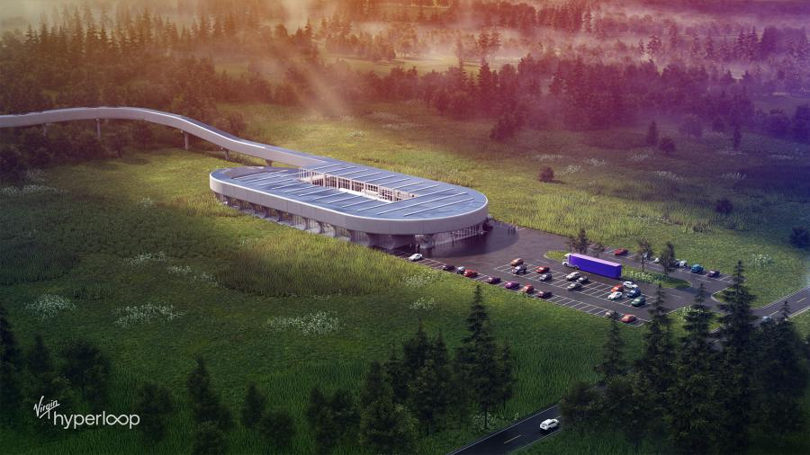 Virgin Hyperloop One chose an 800-acre site in the Mountain State for the $500 million Hyperloop Certification Facility, a 6-mi. test track where the U.S. Department of Transportation will verify the safety of the new technology.