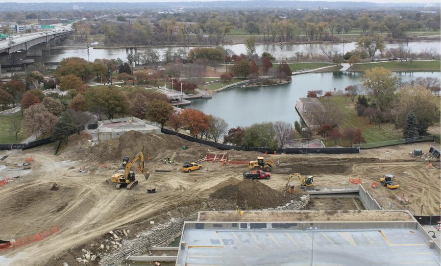 """The Heartland of America Park closed at the end of 2019 with demolition on a waterfall feature, pavilion and """"bunker"""" used for storage getting under way last spring."""