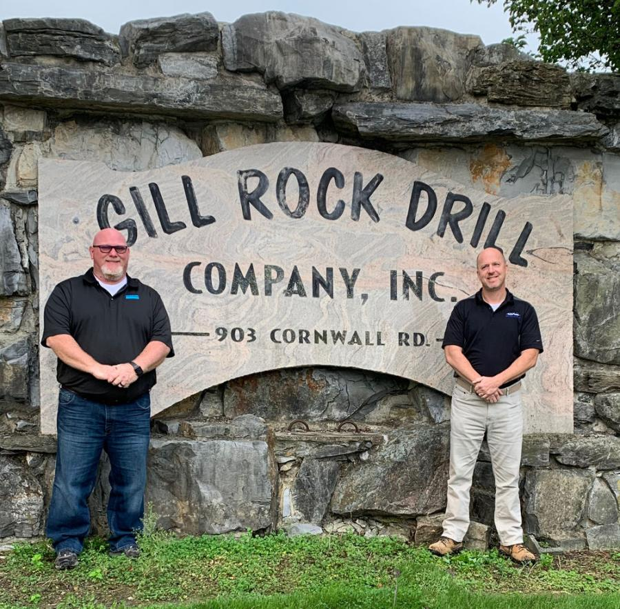 Timothy O'Quinn (L), sales representative boom drills, Sandvik Mining and Rock Technology, and Eric Crosson, vice president, Gill Rock Drill Company Inc.
