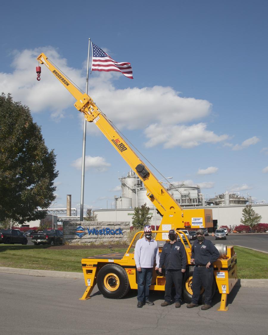 (L-R) are Luke Lonergan, CEO, Empire Crane Company; Cory White, senior vehicle maintenance technician, WestRock; and Scott Walrath, vehicle maintenance technician, WestRock.