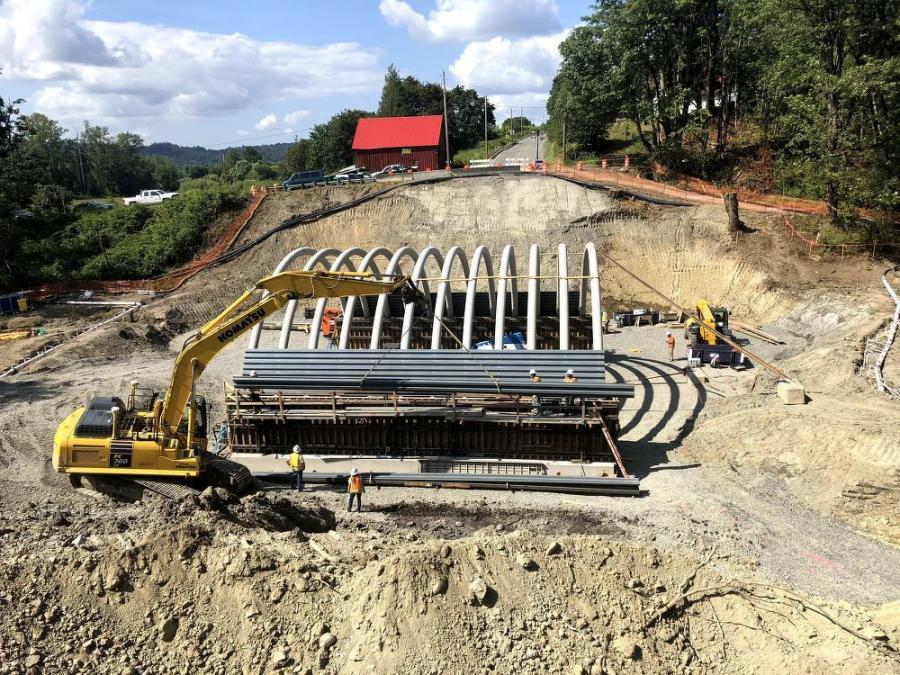 Contractor Goodfellow Bros Inc., known as GBI and headquartered in Clackamas, Ore., utilized a Komatsu PC360 excavator, rear dump articulating trucks and haulers for the job.