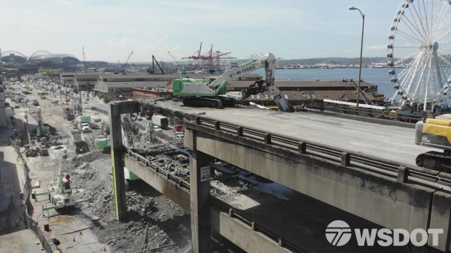 Construction crews began decommissioning the tunnel after the State Route 99 tunnel under Seattle opened in February 2019.