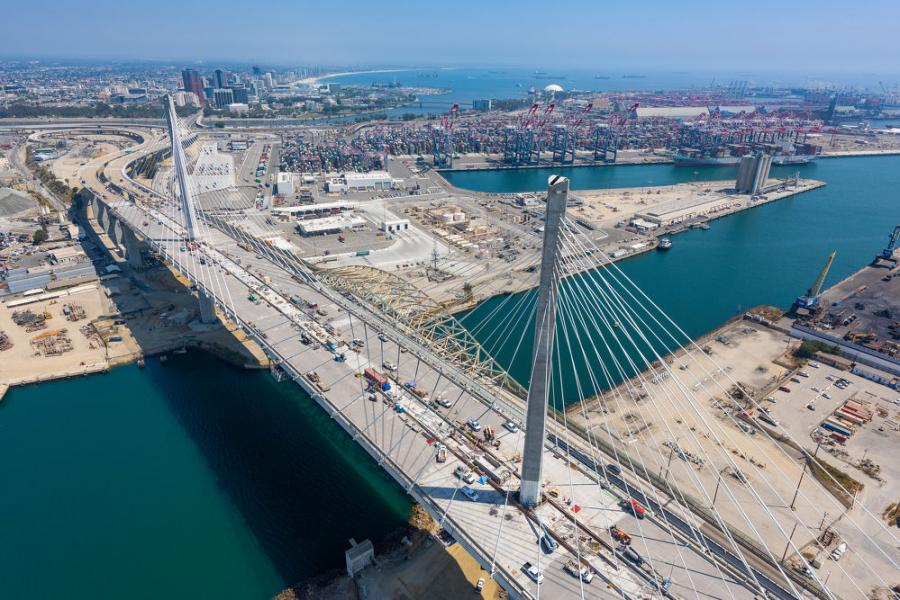 The new bridge consists of 18 million lbs. of structural steel, 75 million lbs. of rebar and has two towers standing 515-ft. tall.