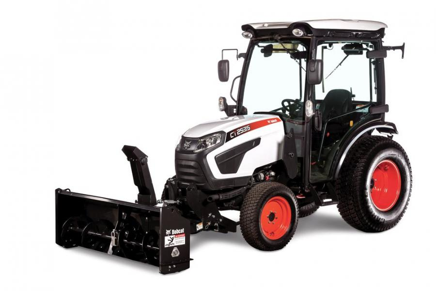The front-mount snowblower is positioned in front of the machine, rather than behind on a 3-point hitch.