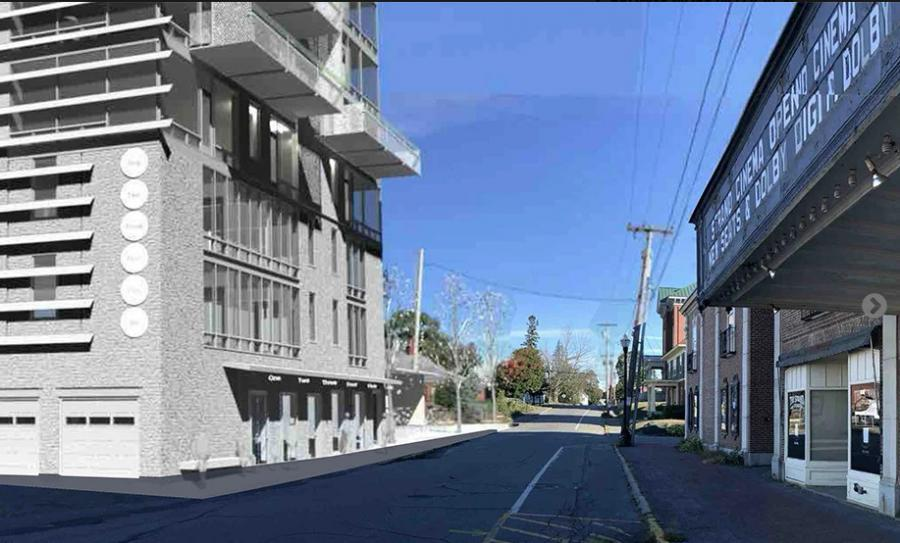 A rendering of the vision Maine Grains' Amber Lambke has for the downtown Skowhegan lot once occupied by the Kennebec Valley Inn with the Strand Cinema opposite. (Animate Inc. for Land & Furrow LLC rendering)