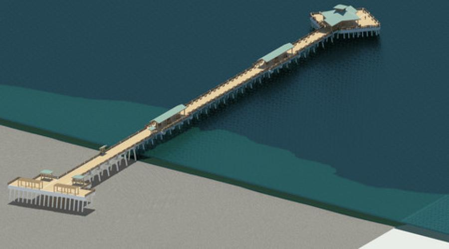 Digital rendering of the replacement Folly Beach pier.