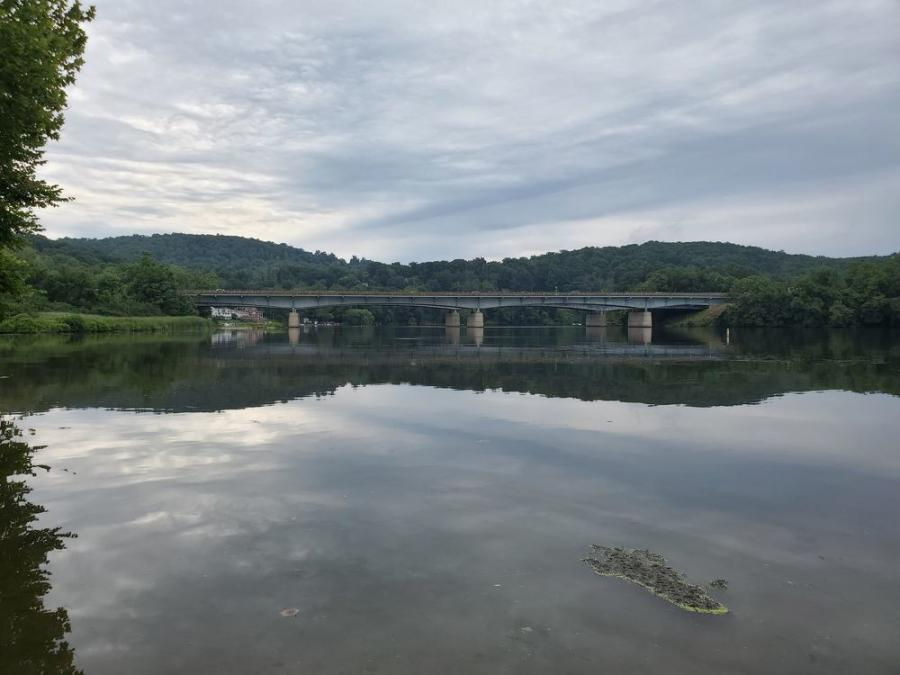 The Rochambeau Bridge carries I-84 over the Housatonic River and the reconstruction will require a work trestle and barges for work that will be done over the water.