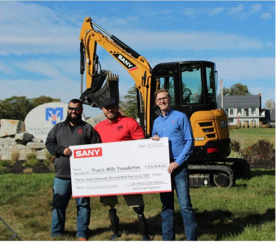 SANY America presented a check and an SY35U excavator to The Travis Mills Foundation at its facility in Rome, Maine. (L-R) are Joe Duplessis, Northeast District sales manager of SANY America; Travis Mills, founder of The Travis Mills Foundation; and Ben Miller, vice president of sales of construction equipment, SANY America.