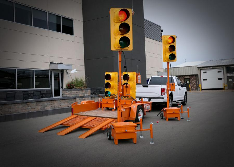 Branz Technologies Inc.'s Hook & Go portable traffic signal systems loaded on a custom Felling FT-3 utility pan trailer.