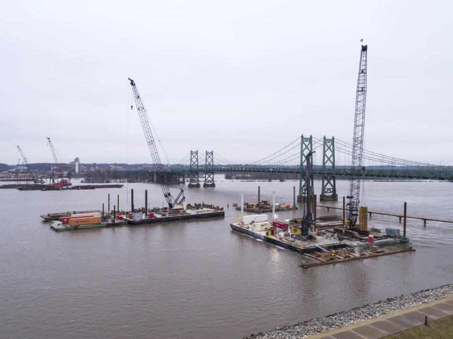 The drilled shafts were installed with simultaneous use of four drill rigs, three working off marine barges. (Michels Corporation photo)