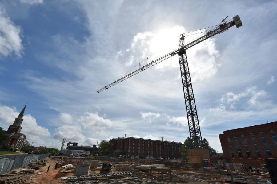 The structure will ultimately include approximately 142,000 sq. ft. of conditioned space, with six above-grade levels and one below-grade level. (Auburn University photo)