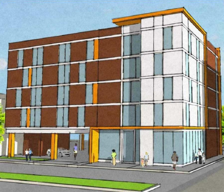 Community Investment Strategies pitched a five-story development that totals 25 units over a parking podium. (KNTM Architects rendering.)