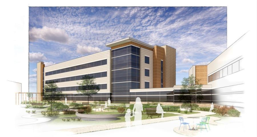 The Lehigh Valley Health Network (LVHN) announced Oct. 29 it will add a four-story bed tower to the hospital currently under construction on Hecktown Road near PA Route 33. (Lehigh Valley Health Network rendering)