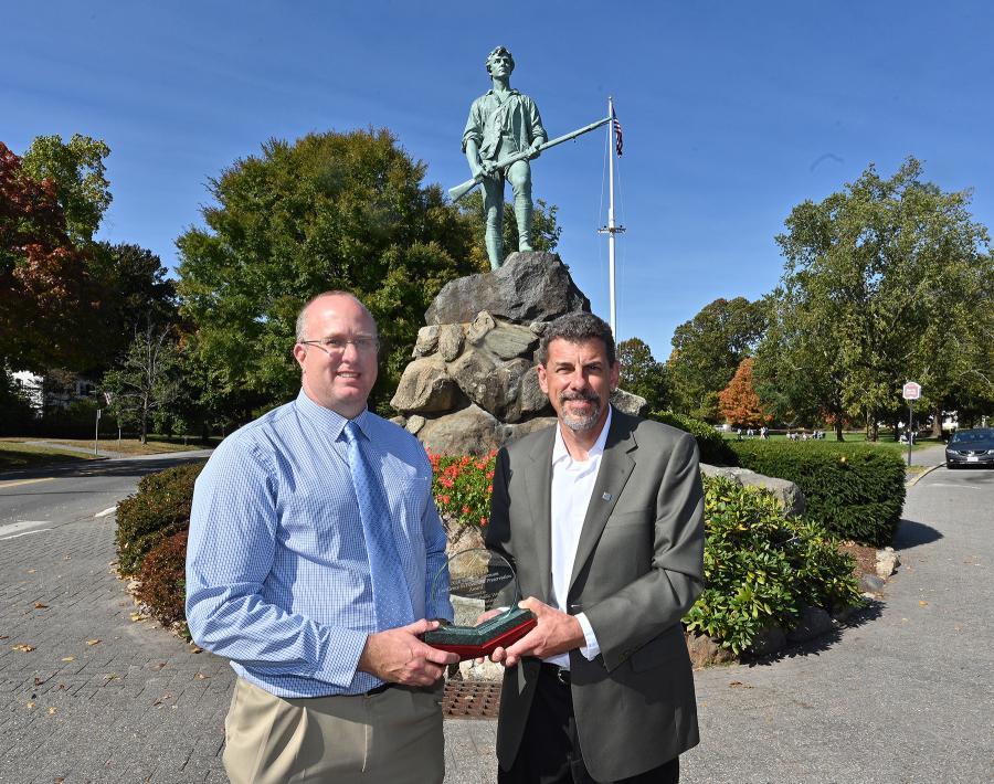 Lexington, Mass., Town Engineer John Livsey (L) and FP2 President Scott Bergkamp, with 2020 James B. Sorenson Award for Excellence in Pavement Preservation. (Joe Brown photo)