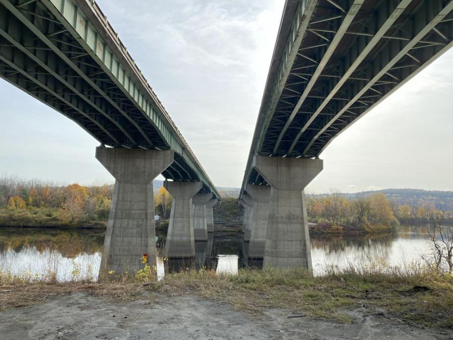 Work to rebuild two I-89 bridges over the Connecticut River in Lebanon, N.H., is under way in a job that will involve constructing one new bridge to replace the two existing bridges.