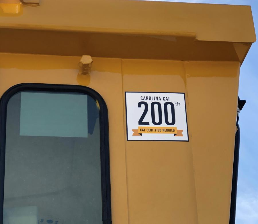 This motor grader marks a significant milestone for Carolina Cat — it is the organization's 200th machine rebuild.