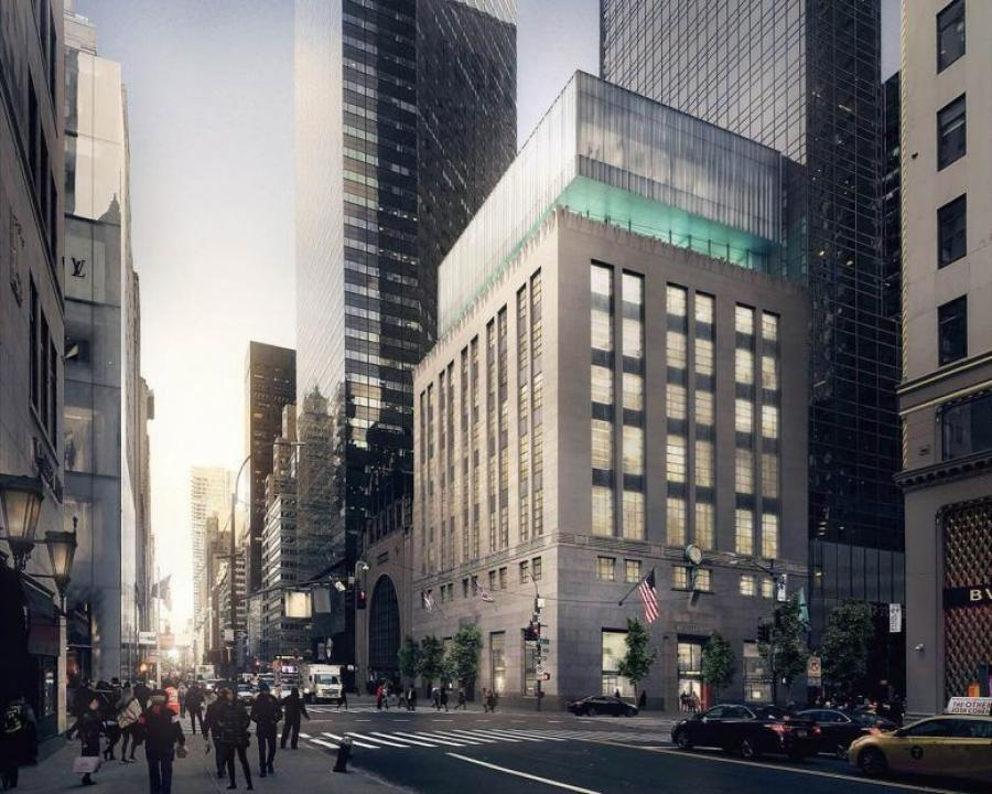 Construction on the property that has served as the cornerstone of Manhattan's most fashionable shopping district since 1940 began in January 2020 and is scheduled to be completed in spring 2022, unveiling a re-envisioned interior and an expansive glass façade that opens to an outdoor terrace on the upper levels. (OMA New York rendering)