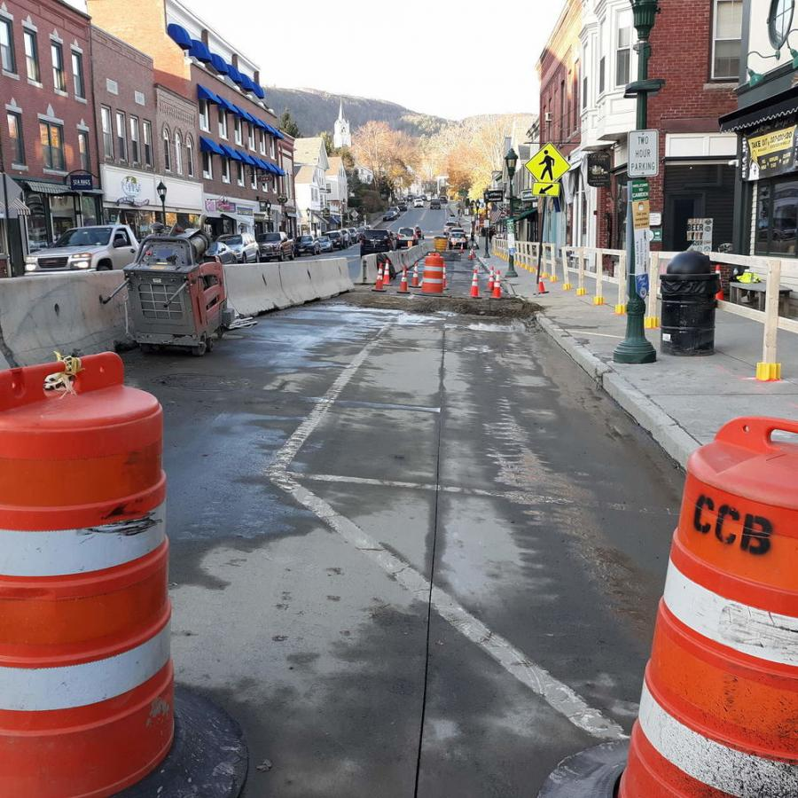 Much of the east side of Main Street in Camden is a construction zone as a major drainage project begins. (Susan Mustapich photo)