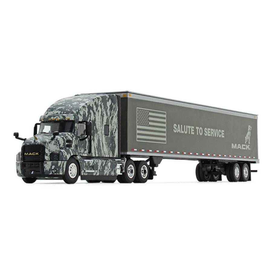 """The diecast model features a camo-wrapped Anthem model cab and the phrase """"Salute to Service"""" on the trailer, along with the Mack Bulldog logo and the American Flag both prominently displayed."""