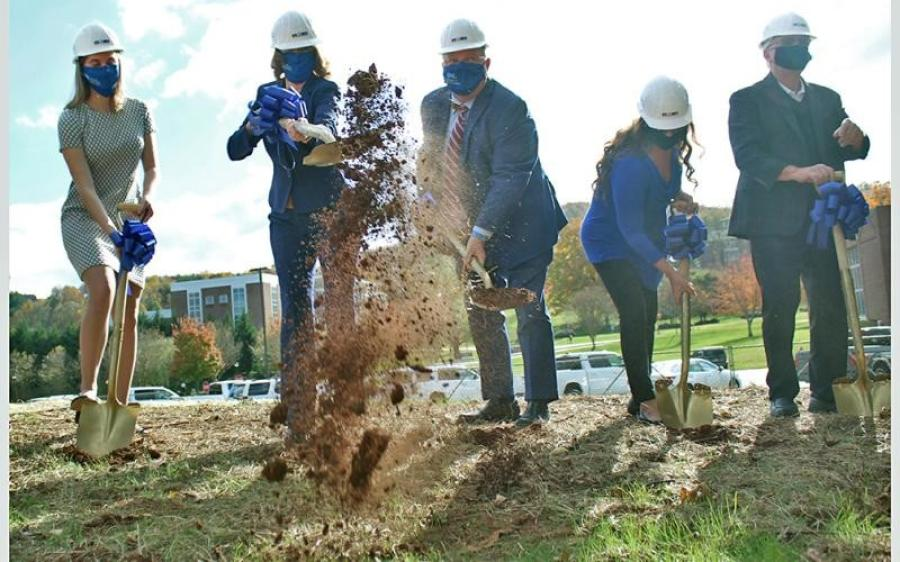 (L-R): Betsy Wilcauskas; Mary Gowan; Mac McConnell; Lynn and Mike Cottrell break ground at the future site of the Cottrell Center for Business, Technology and Innovation. (Dahlonega Nugget photo)