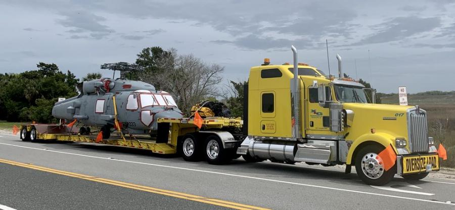 In March, XLG transported two Seahawk helicopters — which remain active military units — to storage by way of an XL 80 mechanical dull-width gooseneck (MFG) expandable trailer.
