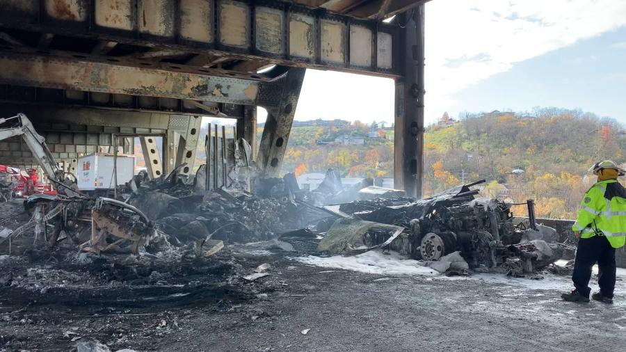 Crews worked to remove accident debris following a Nov. 11 truck accident on the Brent Spence Bridge.