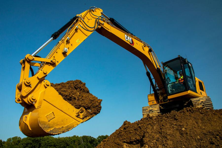 The Cat 317 can be upgraded to 360-degree visibility to see objects and personnel around the excavator in a single view.