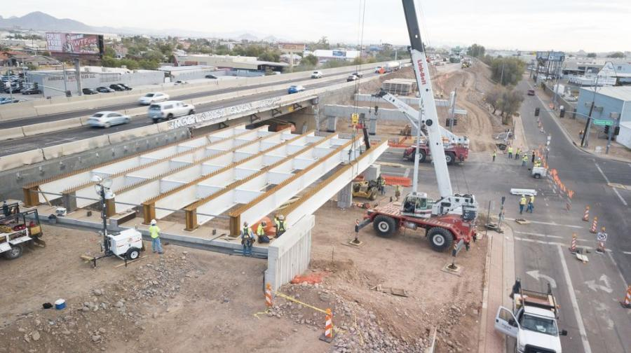 Construction crews installed girders at the south half of the I-17/Central Avenue bridge.