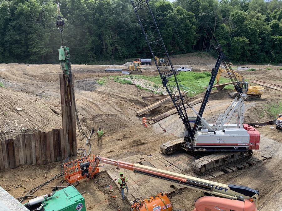 Shelly & Sands is using: 138 Link-Belt cranes; a Cat 330 excavator; a Volvo 220 excavator; a John Deere 245 excavator; a Cat D6 dozer; a John Deere 750 dozer; John Deere 544 loaders; Cat 410 backhoes; and a Skytrak 10054 off road forklift.