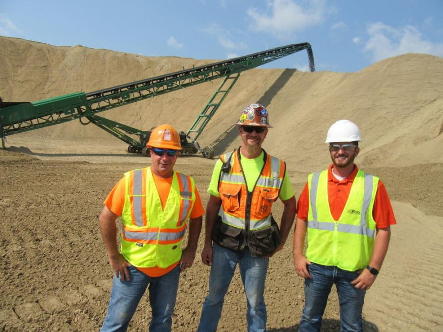 (L-R): Maverick Environmental Equipment's Tim Smith, joins Nick Hebel, Barton Malow civil superintendent, and Maverick Environmental Equipment's Craig Kaser to talk about the next phase of operations at the site.