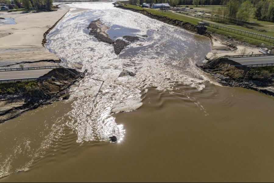 May flooding and dam failures resulted in significant damage to roads and bridges, including the M-30 causeway bridge over the Tobacco River. (Acrow Bridge photo)
