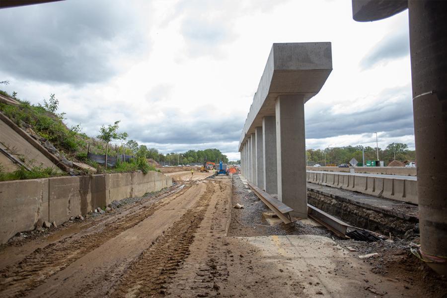 New pier for the Route 123 bridge span.