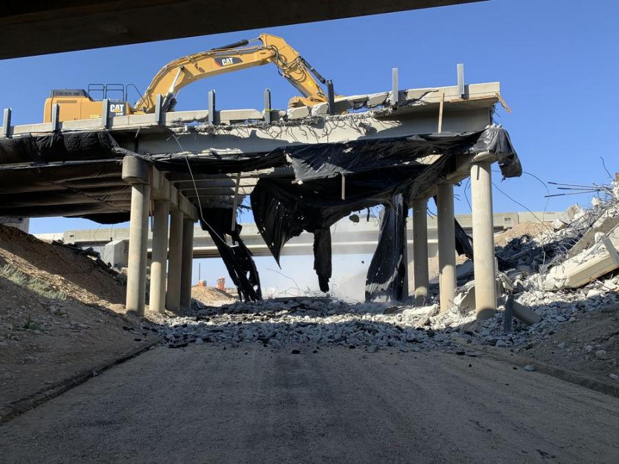 A Cat 349 excavator using a Cat hydraulic shear and breaker was used for the demolition and a hydraulic ramming system was rented from Lifting Gear Hire in Bridgeview, Ill.