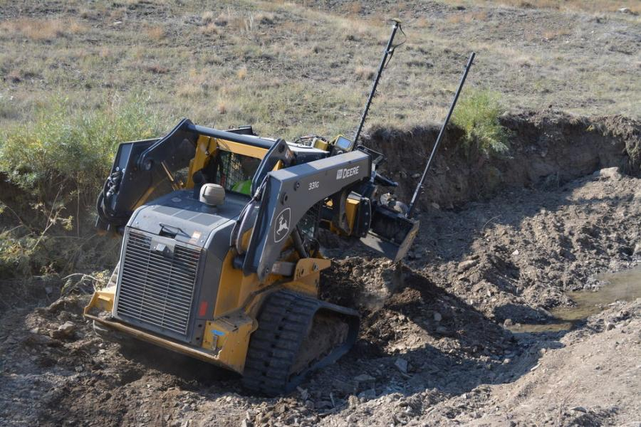 Sweatt Construction utilizes a John Deere 331G track loader with Level Best grading attachment and Topcon 3D-MC grade control software works on reclaiming a creek bed on the Vermejo Park Ranch in New Mexico.