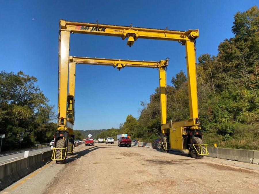 The Mi-Jack gantry crane is being used to build the new Guyandotte River Bridge near the Barboursville exit on Interstate 64. (Martin Engineering photo)